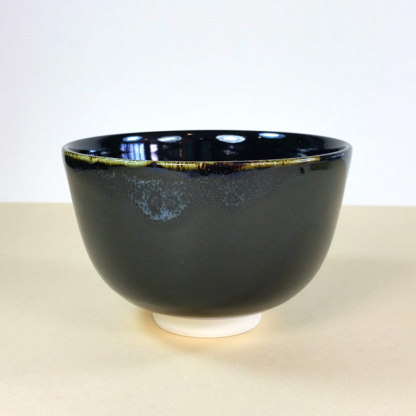 Black Matcha Bowl with White Drip Rim
