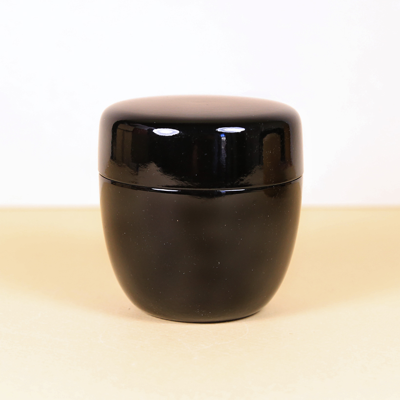 Japanese Black Plastic Matcha Caddy (Natsume)
