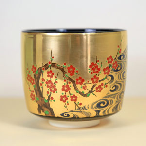 Gold Matcha Bowl with Red & White Flowering Branches