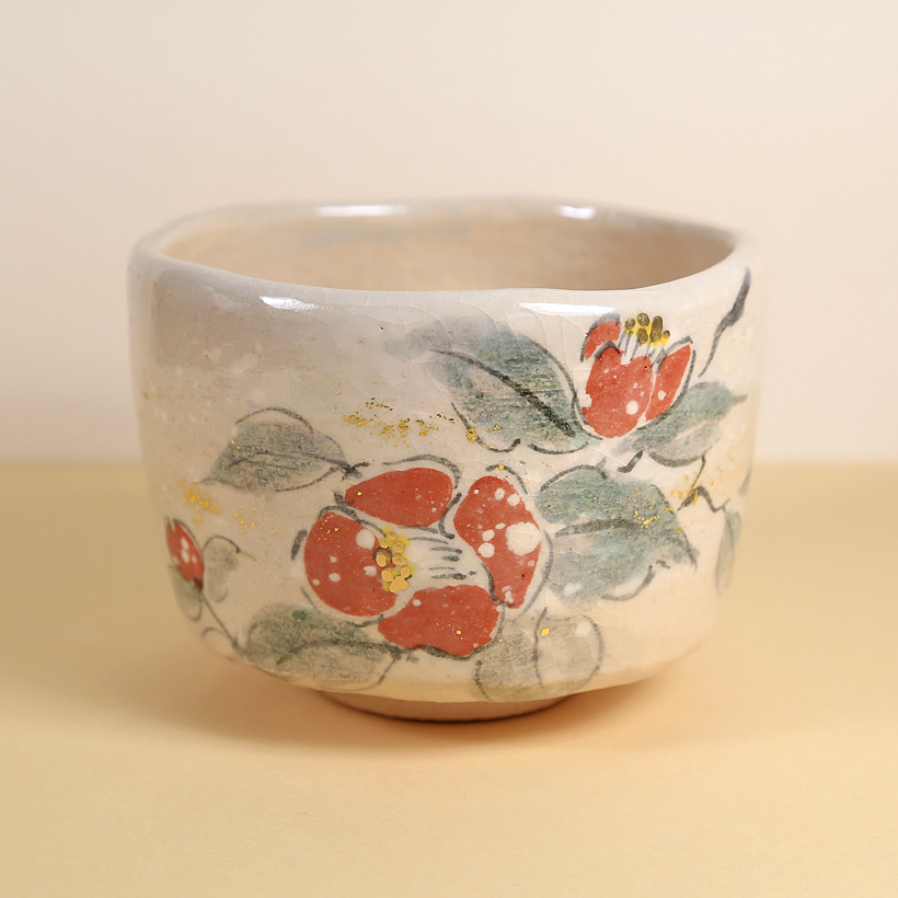 Vintage Matcha Bowl Winter Camellia Flowers