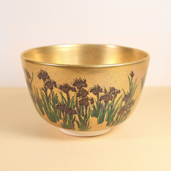 Vintage Matcha Bowl - Gold w/ Iris