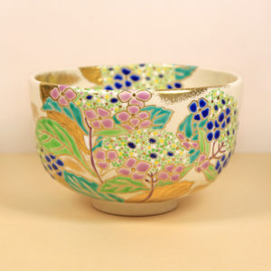 Vintage Matcha Bowl with Hydrangeas