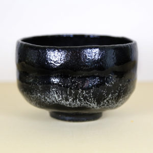 Vintage Raku Matcha Bowl with Splotches
