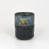Japanese Black Teacup with Cobalt & White Flowing Glazes