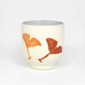 Japanese Carved Ginkgo Leaves Teacup