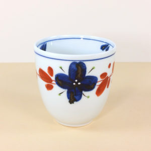 Porcelain Blue & Red Floral Teacup