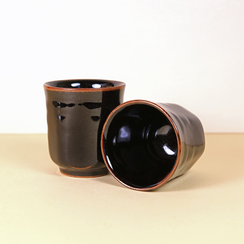 Japanese Dark Brown Teacup with Flecks