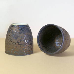 Copper Colored Cup with Silver Crystalline Metallic Glaze