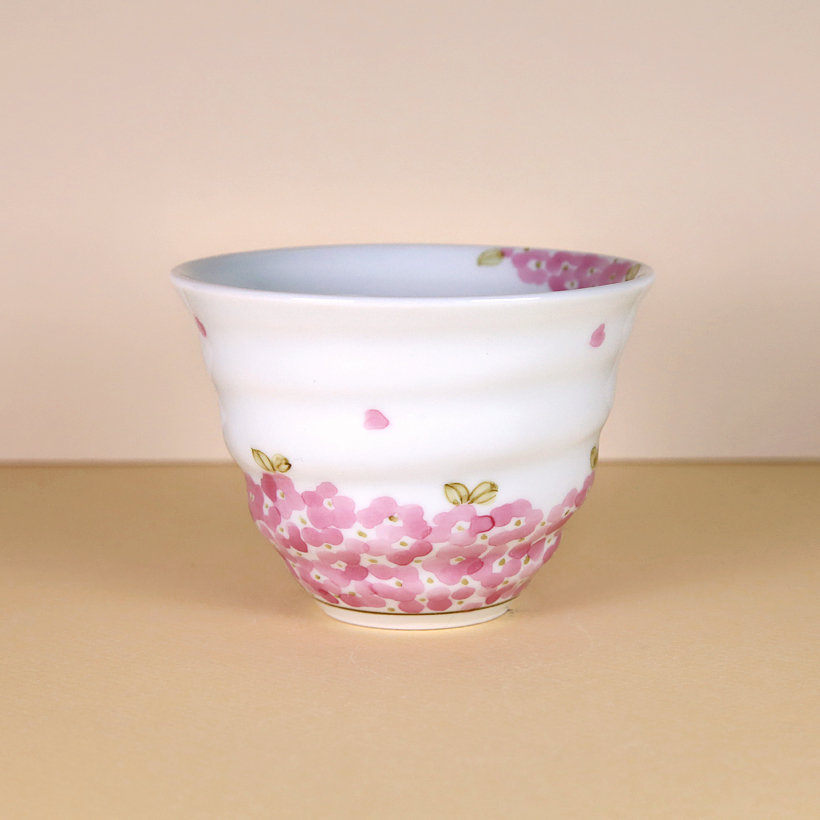 White Teacup with Pink Flowers