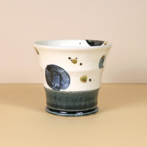 Japanese White Teacup with Dark Blue Circles