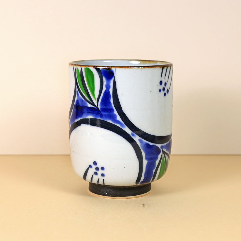 Japanese White Blue & Green Teacup