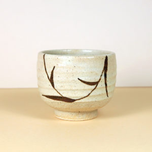 Japanese Creamy White Teacup with Brown Scrolling Leaves