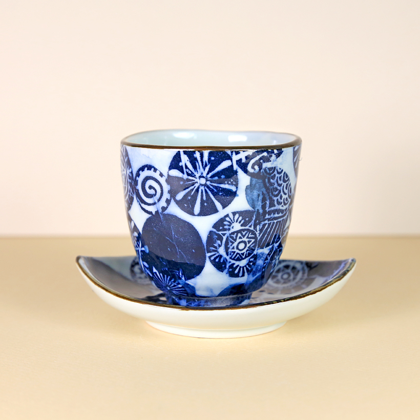 White with Blue Printed Designs Teacup & Saucer