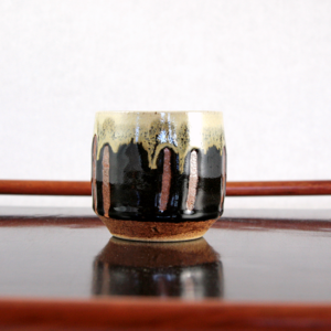 Japanese Brown Drip Rim Teacup