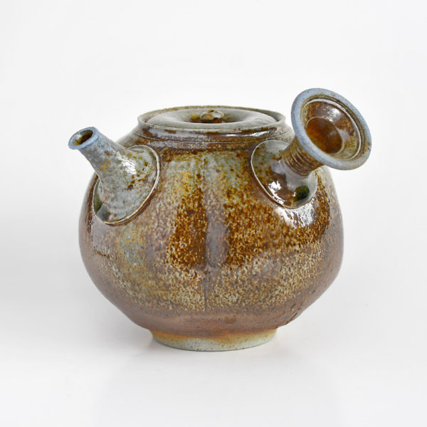 Wood-Fired Anagama Teapot with Blue & Brown Glaze - Chipped
