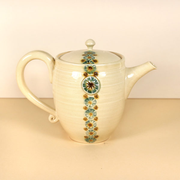 Glazed Teapot with Stamped Flowers