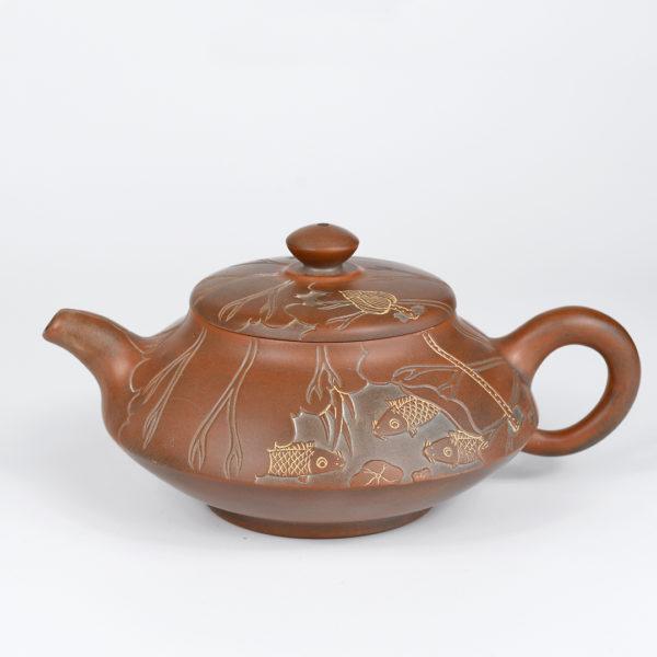 Qinzhou Nixing Fish & Lotus Teapot