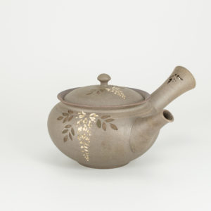 Tokoname Matte Grey Teapot with Wisteria Flowers